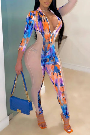 Zipper Collar See-Through Printed Jumpsuit
