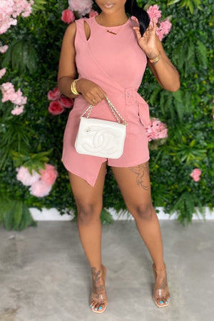 Bandage Solid Color Sleeveless Romper