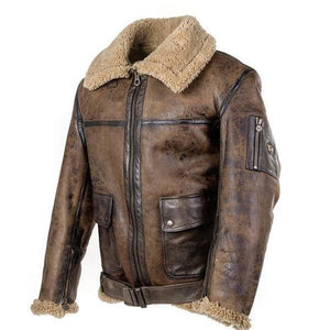 Vintage leather with plush jacket