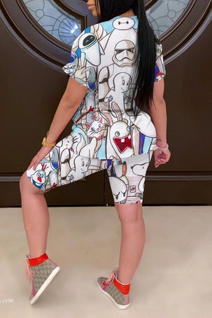 Cartoon Print Casual Short Sleeve Two Piece Sets