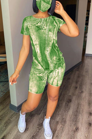 Digital Print Short Sleeve Two Piece Sets With Mask