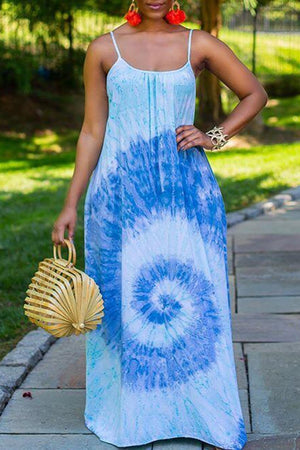 Scoop Neck Digital Print Sleeveless Maxi Dress