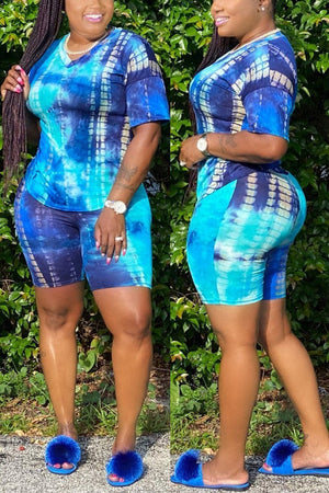 Plus Size Tie Dye V-neck Top & Shorts