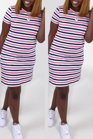 Stripe Print Short Sleeve Mini Dress