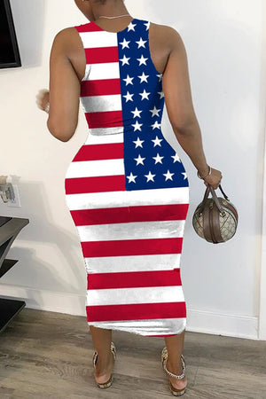 American Flag Print Sleeveless Midi Dress