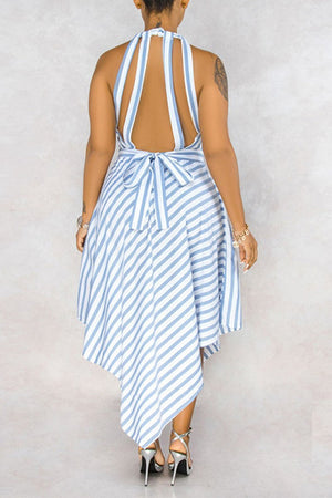 Stripe Print Asymmetric Hem Lace-up Dress