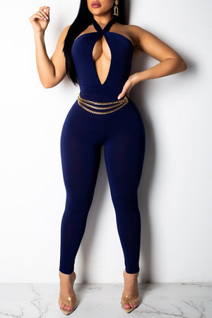 Solid Halter Neck Open Back hollow Out Jumpsuit With Belt