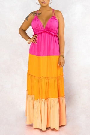 Color Block Ruffled Halter Neck Maxi Dress