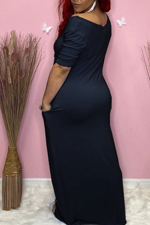 V-Neck Plus Size Pocket Maxi Dress