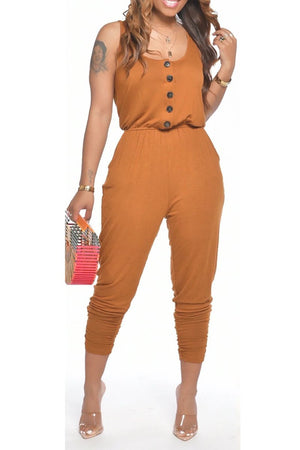 Button Round Neck Solid Color Jumpsuit