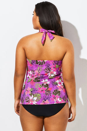 Pink Orchid Shirred Halter V-neck Tankini Set