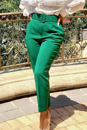 Plus Size Solid Color Belted Pencil Pants