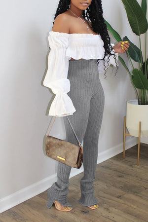 Ruffled Off The Shoulder Top & Knitted Pants