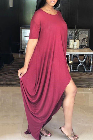 Asymmetric Hem Scoop Neck Solid Color Casual Dress - MISSINSTYLE