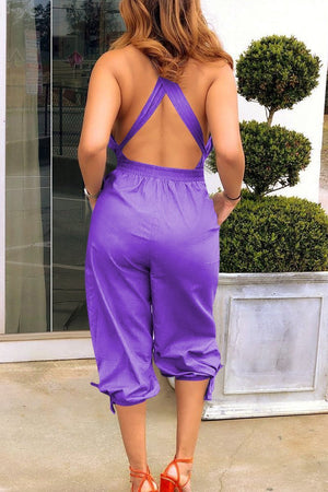 Lace-up V-neck Open Back Jumpsuit