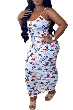 Butterfly Print Sleeveless Bodycon Dress