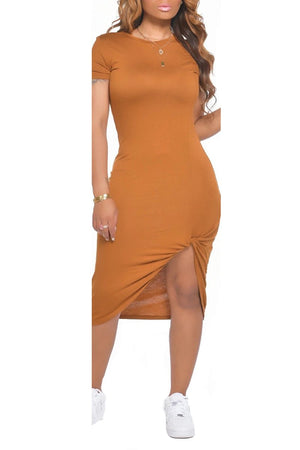 Irregular Hem Solid Color Midi Dress