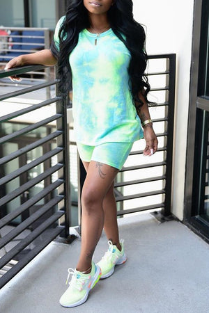 Tie Dye Short Sleeve Casual Top & Shorts