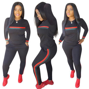 Stripe Tracksuits 2 Set Piece Set Woman Tops Sweatshirt Long Pants Pockets Club Suits Overalls Outfit