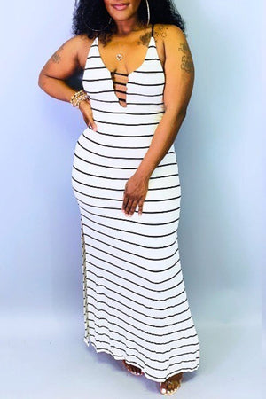 Bandage Striped Side Slit Plus Size Dress