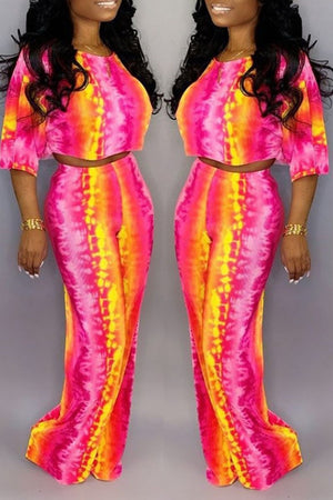 Tie Dye Half Sleeve Two Piece Sets