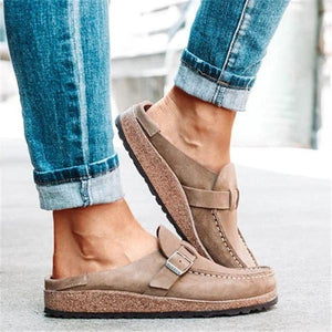 Massimoda Women Casual Comfy Leather Slip On Sandals