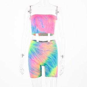 Tie dye print sexy tank top biker shorts 2 two piece set 2020 summer women tracksuit crop tops streetwear