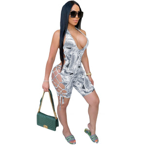 Bandage See-Through Printed Plus Size Romper
