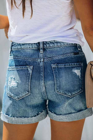 High Rise Cuffed Denim Shorts