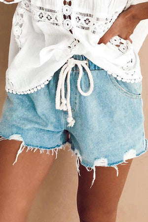 Casual  Elastic Waist Bleach Wash Denim shorts