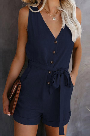 Sleeveless V-neck Solid Color Romper