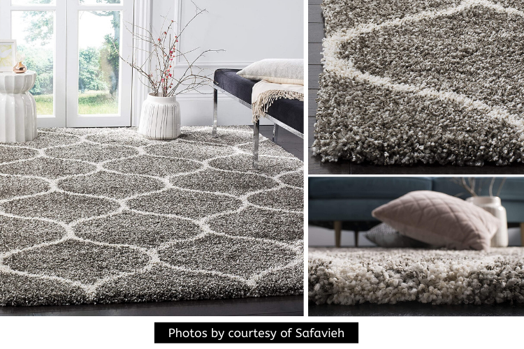 Safavieh Hudson Shag Moroccan Ogee Plush Rug Review - A Beautiful Shade of Grey and Ivory