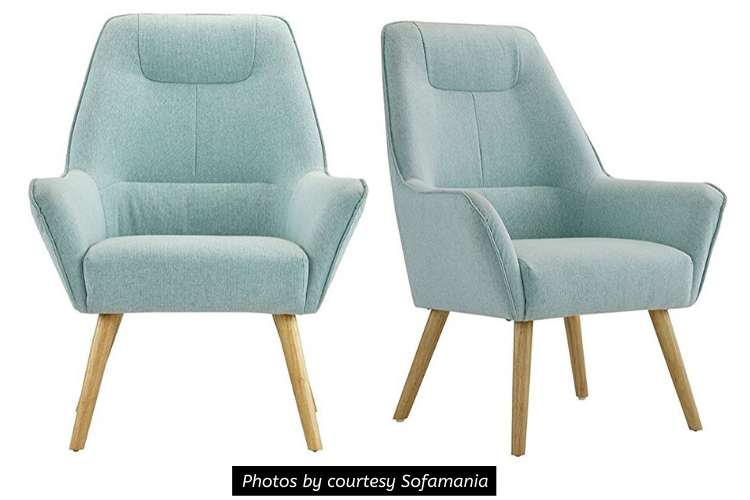 Sofamania Accent Chair Review - Upholstered Linen Arm Chairs with Natural Wooden Legs