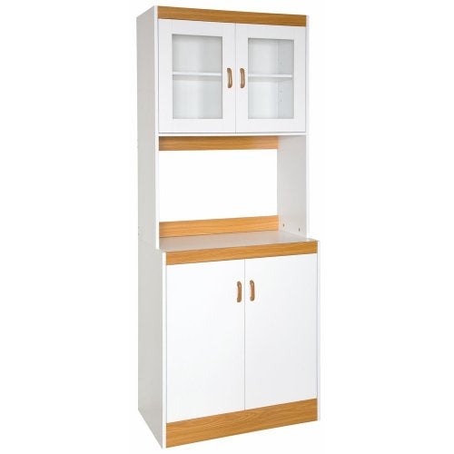 Home Source Industries - 153BRD - Tall Kitchen Microwave Cart - Cabinets, Shelf and Glass Doors - White with Light Wood Trim
