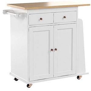 Target Marketing Systems Sonoma Collection Two-Toned Rolling Kitchen Cart with Drawer, Cabinet, and Spice Rack, White/Natural