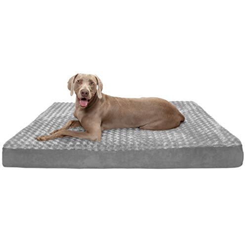 Furhaven Pet Dog Bed | Deluxe Cooling Gel Memory Foam Mat Ultra Plush Faux Fur Traditional Foam Mattress Pet Bed w/ Removable Cover for Dogs & Cats, Gray, Jumbo Plus