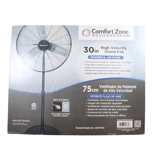 Comfort Zone CZHVP30 High-Velocity 3-Speed 30-inch Industrial Pedestal Fan with Aluminum Blades and Adjustable Height