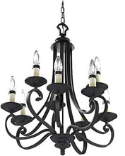 "Load image into Gallery viewer, Designers Fountain 9039-NI Barcelona 9-Light Chandelier, 27.75"" x 27.75"", Natural Iron"