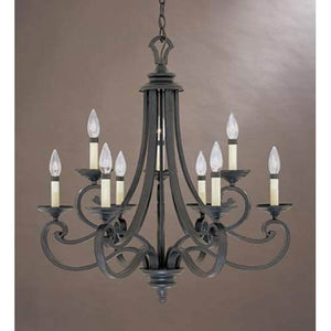 "Designers Fountain 9039-NI Barcelona 9-Light Chandelier, 27.75"" x 27.75"", Natural Iron"