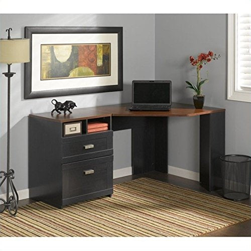 Bush Furniture MY72713A-03 Wheaton Corner Desk, Antique Black/Hansen Cherry
