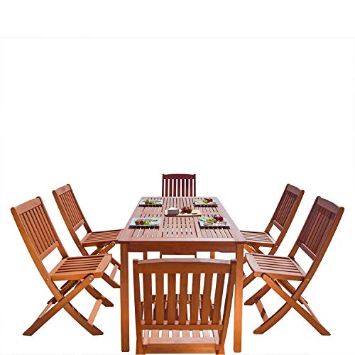VIFAH V98SET4 Malibu Outdoor 7-Piece Wood Patio Dining Set with Folding Chairs, Red brown