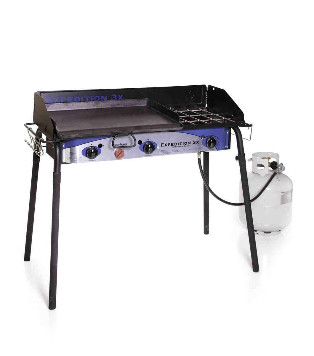Camp Chef Expedition 3X Triple Burner Stove w/Griddle (Colors: White/Blue/Black)