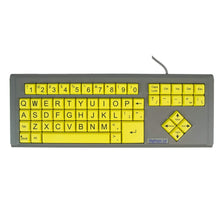 Load image into Gallery viewer, Ablenet BigKeys LX USB Wired QWERTY Large Print Keyboard Yellow Keys with Black Jumbo Oversized Print Letters for Visually Impaired Individuals