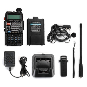 5 Pack BaoFeng UV-5R+ Plus UHF VHF Dual-Band Two Way Radio Black + 1 Baofeng Programming Cable (Support Win7, Win10)