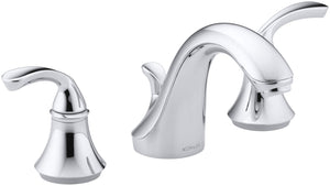 KOHLER Forte Sculpted K-10272-4-CP 2-Handle Widespread Bathroom Faucet with Metal Drain Assembly in Polished Chrome