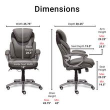 Load image into Gallery viewer, Serta 43807 Air Health and Wellness Executive Office Chair, Grey, Light Gray