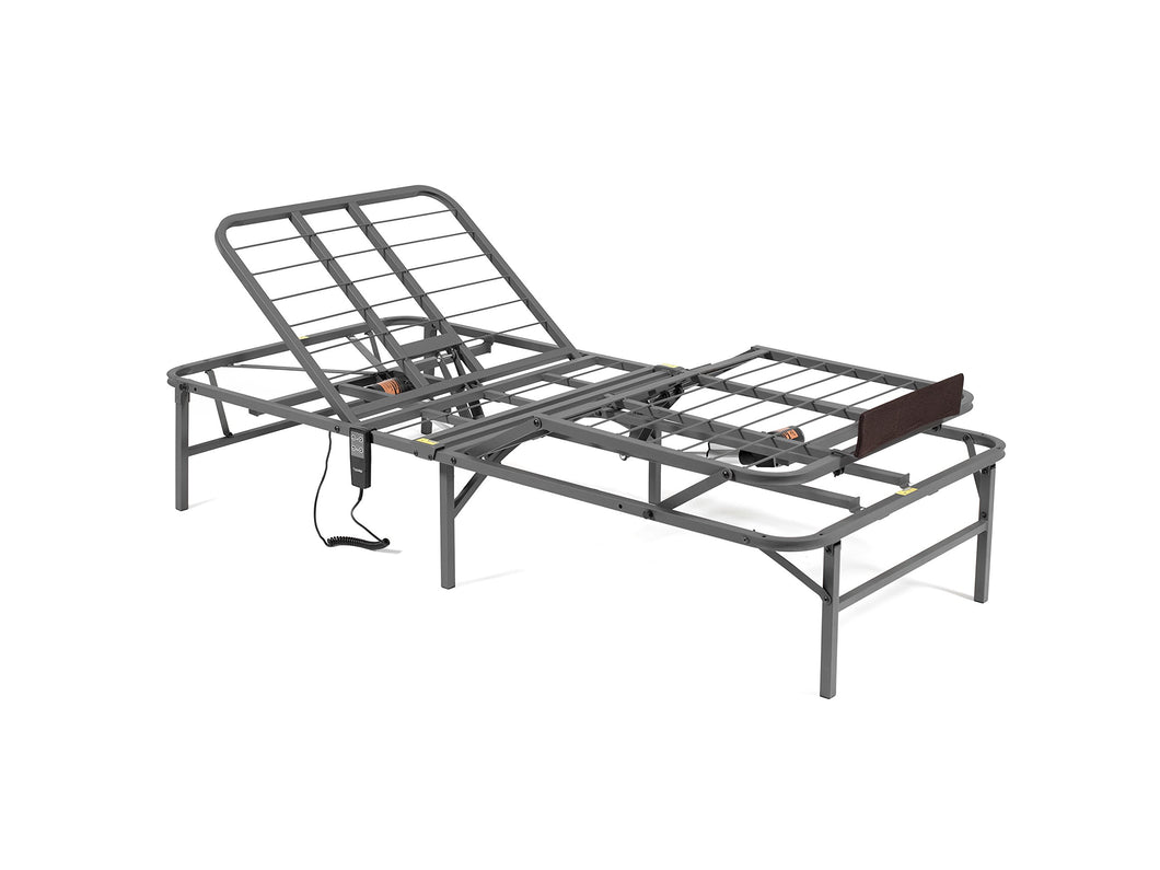PragmaBed Pragmatic Adjustable Bed Frame, Head and Foot, Twin X-Large, Gray