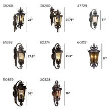 "Load image into Gallery viewer, Casa Marseille Outdoor Light Fixture Bronze Scroll 21 3/4"" Hammered Glass for Exterior House Porch - John Timberland"