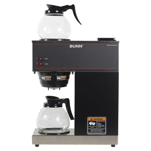 BUNN 33200.0015 VPR-2GD 12-Cup Pourover Commercial Coffee Brewer with Upper and Lower Warmers and 2 Glass Decanters, Black (120V/60/1PH)