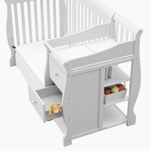 Load image into Gallery viewer, Storkcraft Portofino 4 in 1 Fixed Side White Convertible Crib Toddler Bed Day/Full Bed, 3 Position Adjustable Height Mattress (Mattress Not Included)